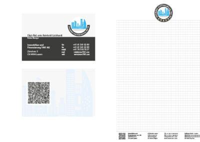 Visitenkarten, Briefpapier und Blöcke für eine Schweizer Immobilien Firma