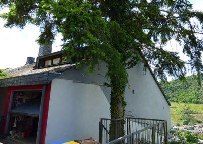 Rückseite Haus mit Garage
