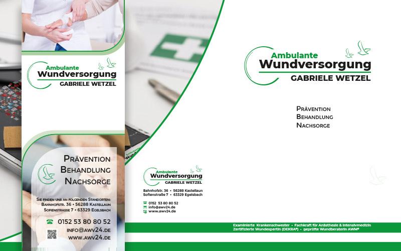 Visitenkarten, Business-Folder und Rollup für ein Egelsbacher Unternehmen